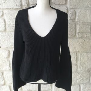 Free People Black V Neck Bell Sleeve Sweater LRG